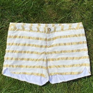 Lilly Pulitzer ADIE White w/ Gold Stripe Shorts